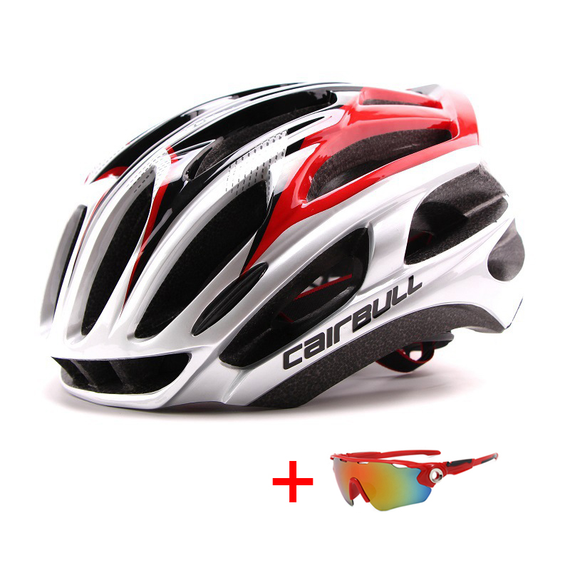 Ultralight Racing Cycling Helmet with Sunglasses Intergrally-molded MTB Bicycle Helmet Outdoor Sports Mountain Road Bike Helmet(China)