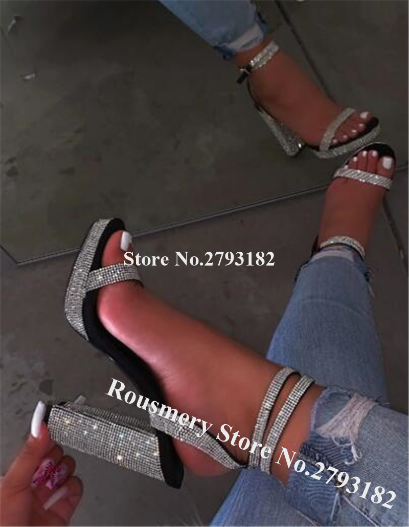 Luxurious Bling Bling Rhinestone Platform Chunky Heel Gladiator Sandals Black Red Crystal Thick High Heel Sandals Wedding Heels