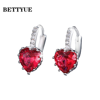 Bettyue Cute Earring Zircon Multicolor Elegant Hearts Shape Jewelry Fashion Trend Design Adorable For Women Party Choice