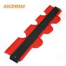 ASCEBDAS Medidor de perfil de contorno, azulejos laminados de azulejos, regla de medida de madera moldeadora de bordes, 10 pulgadas/250mm