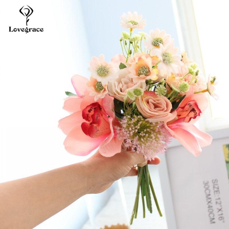 Lovegrace Wedding Bouquet Handmade Rose Flower Wedding Supplies Silk Pompom Orchid Flower Pink Prom Party Marriage Decorations