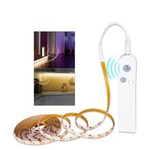 1 3M 2835SMD 5V PIR hareket sensörü ışık şerit LED USB esnek yapışkanlı şerit LED diyot bant dolap merdiven DIY mutfak ışığı