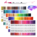 120 Colors Dual Tip Brush Marker Pens Art Watercolor Fineliner Drawing Painting Stationery For Coloring Manga School Supplies