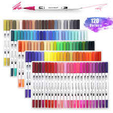 Dual Tip Brush Art Marker Pens 12/48/72/120 Colors Watercolor Fineliner Drawing Painting Stationery Coloring Manga Art Supplies