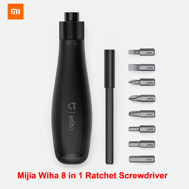 شاومي Mijia Wiha 8 في 1 مفك برغي بسقاطة عدة سوداء الدقة بت المغناطيسي الاستخدام اليومي لتقوم بها بنفسك طقم مفكات للمنزل