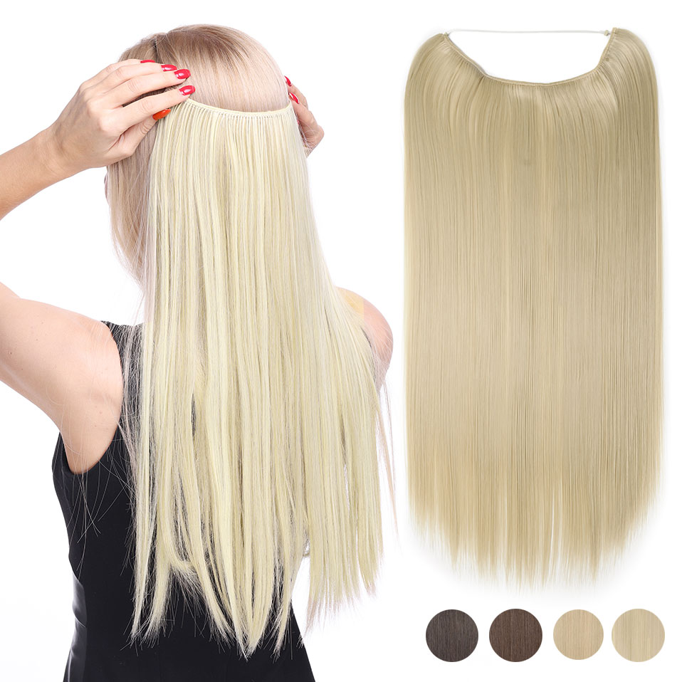 Snolilite 24inch Long Straight Flip In Hair Extension Invisible Wire No Clip One Piece Halo Hair Synthetic Hairpiece For Women