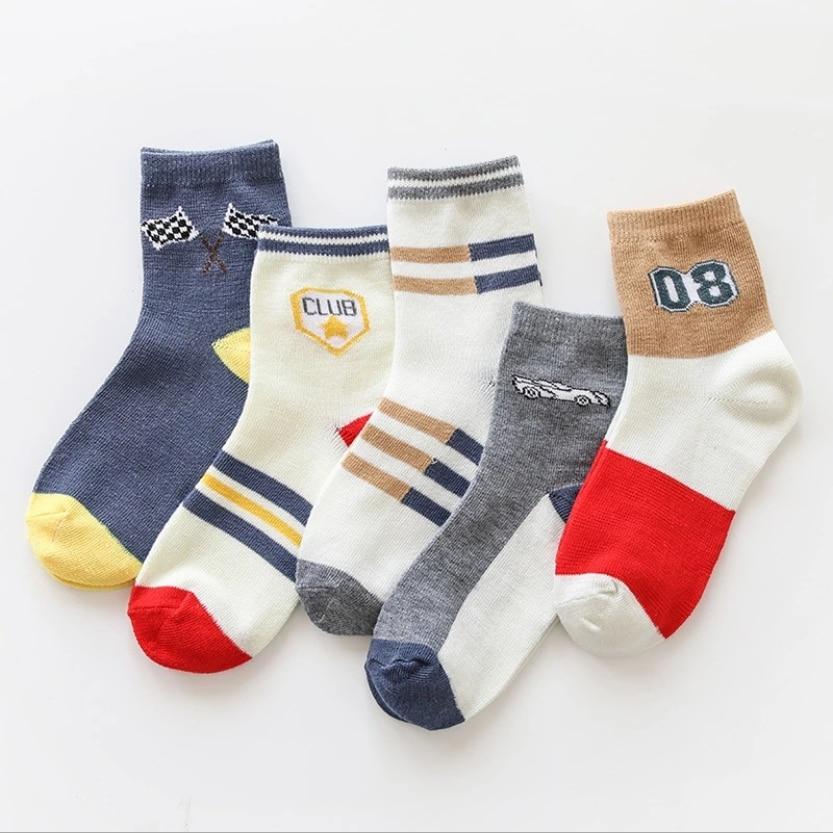 5 пар, Детские хлопковые носки, на возраст 2 - 10 лет