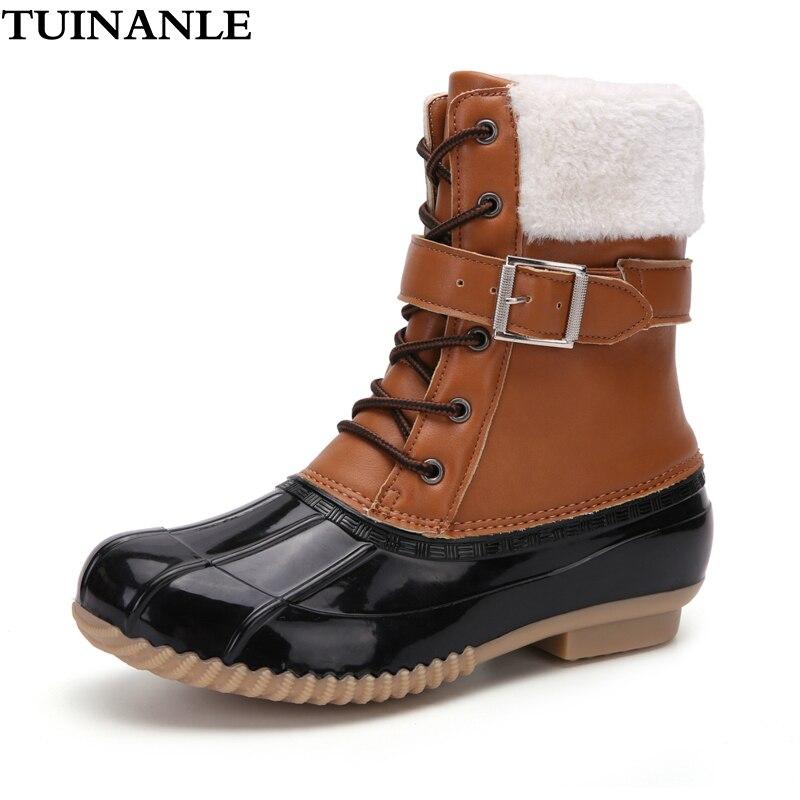 TUINANLE-Botas de polipiel para mujer, botines cálidos de media caña con plataforma y punta redonda, con cordones, para invierno