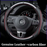 Car Genuine Leather Carbon Fiber Steering Wheel Covers for Volkswagen VW Ameo Arteon CC BeetleJetta Passat Polo Vento Tiguan