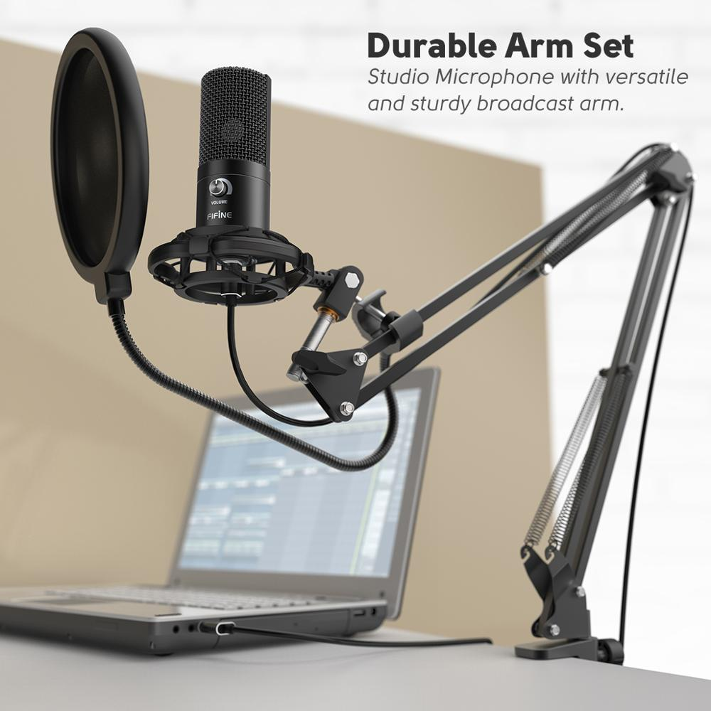 Kit de Microphone d'ordinateur USB à condensateur FIFINE Studio avec support de bras à ciseaux réglable support de choc pour Overs-T669 vocale YouTube - 2