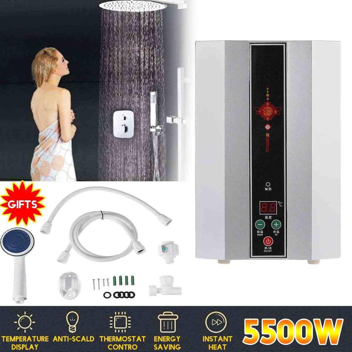 5500W chauffe-eau électrique instantané sans réservoir chauffe-eau instantané chauffe-eau électrique instantané rapide 3 secondes douche chaude