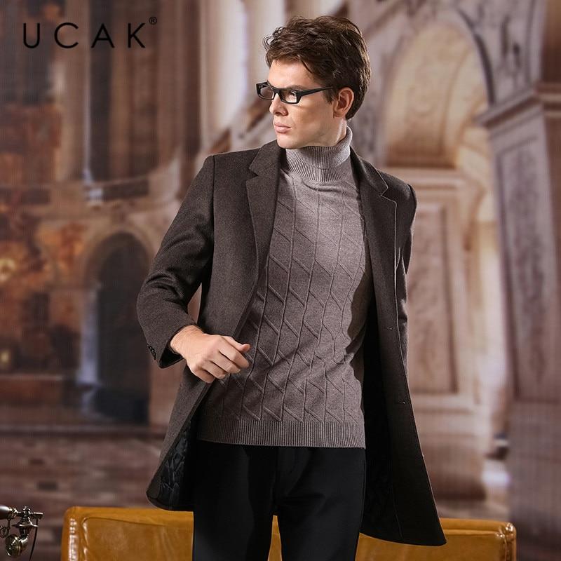 UCAK Brand Coat Men 2020 New Arrival Wool Casual Long Solid Turn-down Collar Abrigo Hombre Casaco Masculino Warm Men Coat U8037