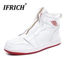 Новая трендовая мужская повседневная обувь из искусственной кожи; повседневная обувь с высоким берцем для молодых людей; брендовая модная обувь на молнии; удобные мужские повседневные кроссовки для мальчиков