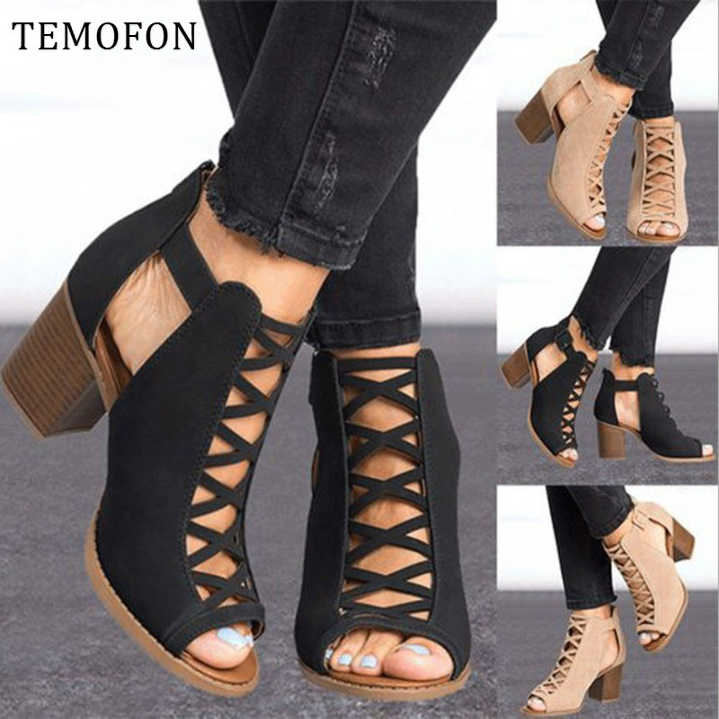 TEMOFON 2020 women square heel Sandals peep toe hollow out chunky gladiator sandals with strap black spring summer shoes HVT791 3