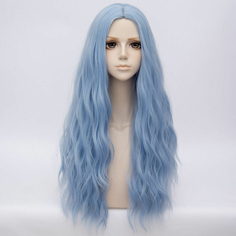 Light Pink Blue Mixed Long Curly Lolita Party Lady Cosplay Hair Full Wig 80CM 32 Inches