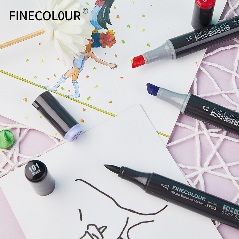 Closeout DealsFinecolour Art-Markers Alcohol-Based EF103 Professional with Bag 12/24/36-/.. Oily Soft