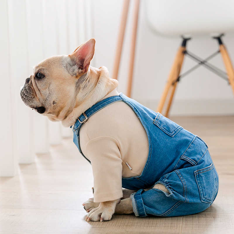 Bulldog francese di Abbigliamento Denim Vestiti Del Cane Da Compagnia Tute E Tute Da Palestra Cani Animali Domestici Vestiti per il Cane del Rivestimento del Cappotto di Inverno di Autunno Ropa Para Perro