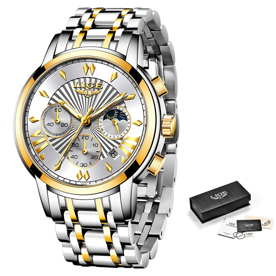2020 LIGE Luxury Watch Man Chronograph Sport Mens Watches Quartz Clock Full Steel Male Wristwatch Relogio Masculino Gift for Men 6
