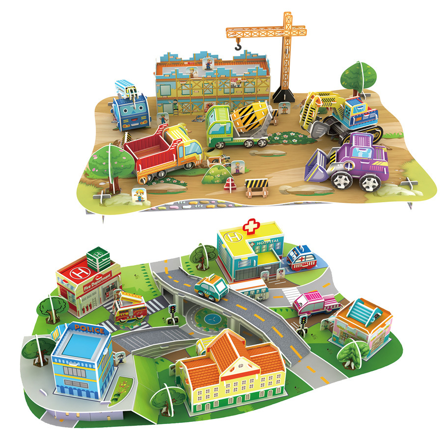 3D Engineering Building Car Model City Construction  Paper Model DIY Handmade Papercraft Toy