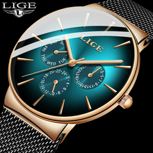 2020 Ultra-thin LIGE Green Mens Watches Top Brand Luxury Casual Mesh Belt Stainl