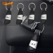1pcs high quality Leather metal Car Keychain Key Chain Key Ring gift For Audi A3 A4 A5 A6 Car accessories Car styling fashion leather metal car styling keychain car and home key ring holder housekeeper for audi a3 a4 a5 a6 q3 q5 car accessories