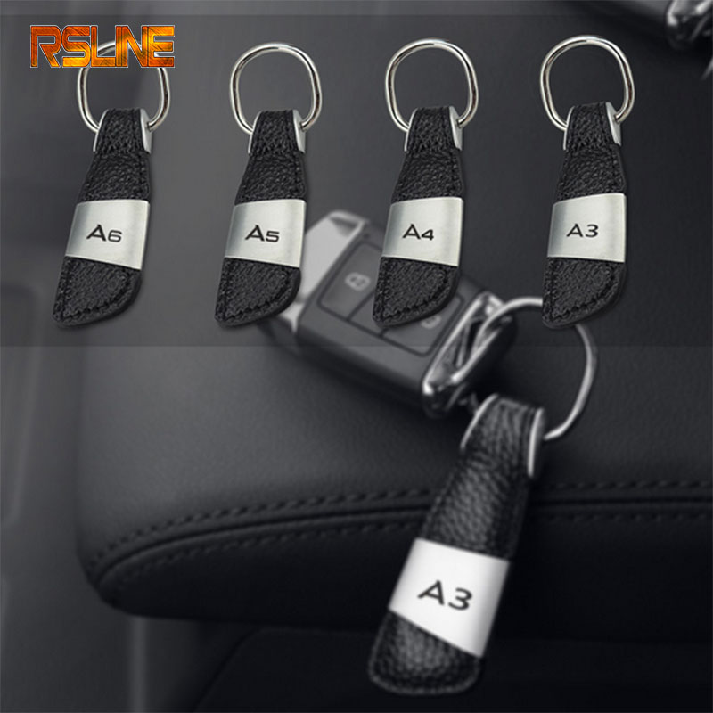 1pcs high quality Leather metal Car Keychain Key Chain Key Ring gift For Audi A3 A4 A5 A6 Car accessories Car styling image