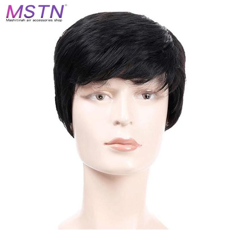 MSTN Короткий прямой парик из натуральных волос Синтетические мужские парики термостойкие искусственные волосы черные светильник лые/темно коричневые для мужчин|Синтетические парики без сеточки| | АлиЭкспресс