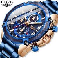 LIGE 2020 Neue Mode Herren Uhren mit Edelstahl Top Marke Luxus Sport Chronograph Quarz Uhr Männer Relogio Masculino