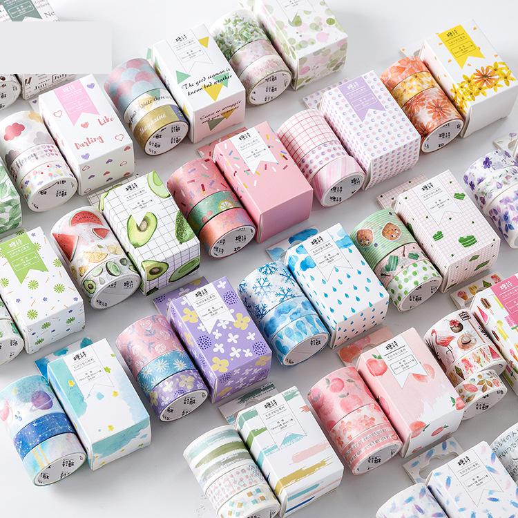 3Rolls/Pack Washi Masking Tape Set Candy Animal Flower Cactus Paper Masking Tapes Japanese Washi Tape Diy Scrapbooking Sticker