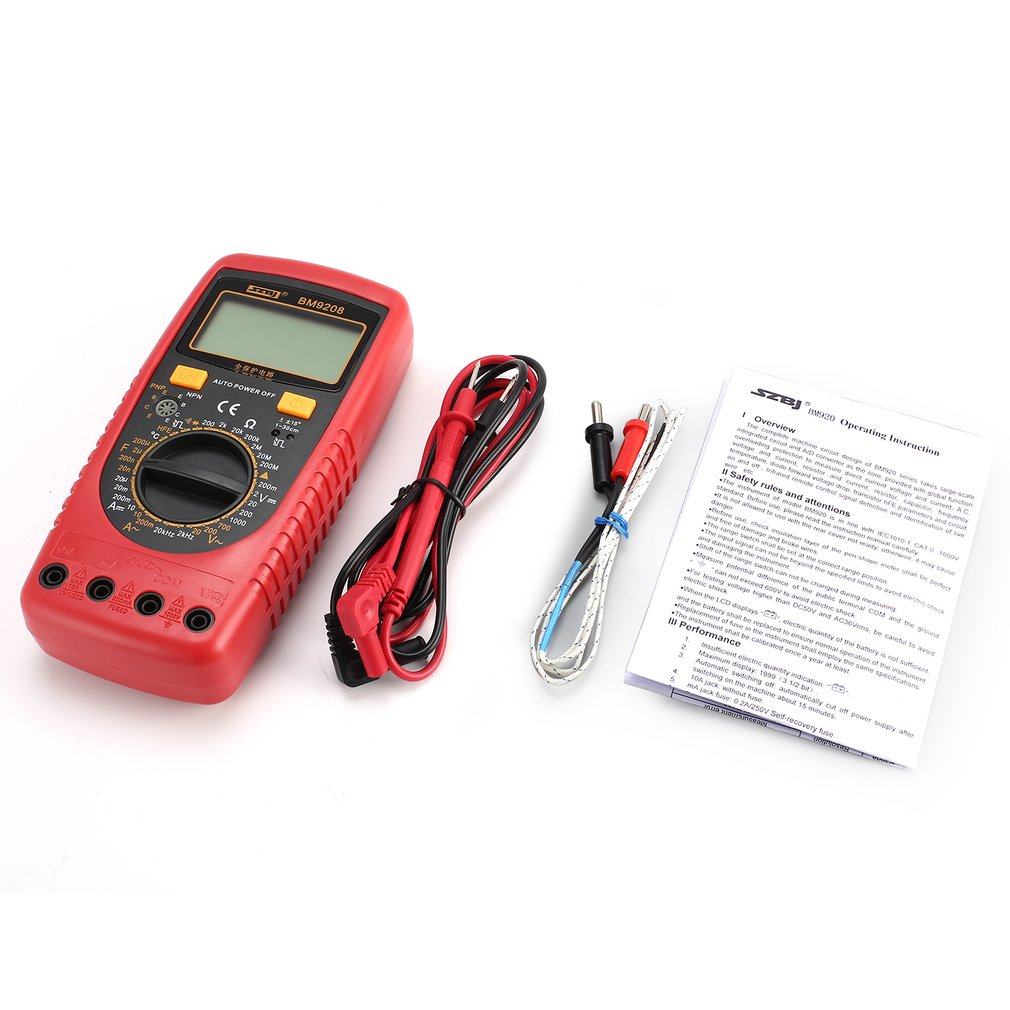 9208 Handheld Digital Multimeter 1999 Counts AC/<font><b>DC</b></font> Volt Amp Ohm Capacitance Frequency Temperature hFE Diode Continuity Tester image