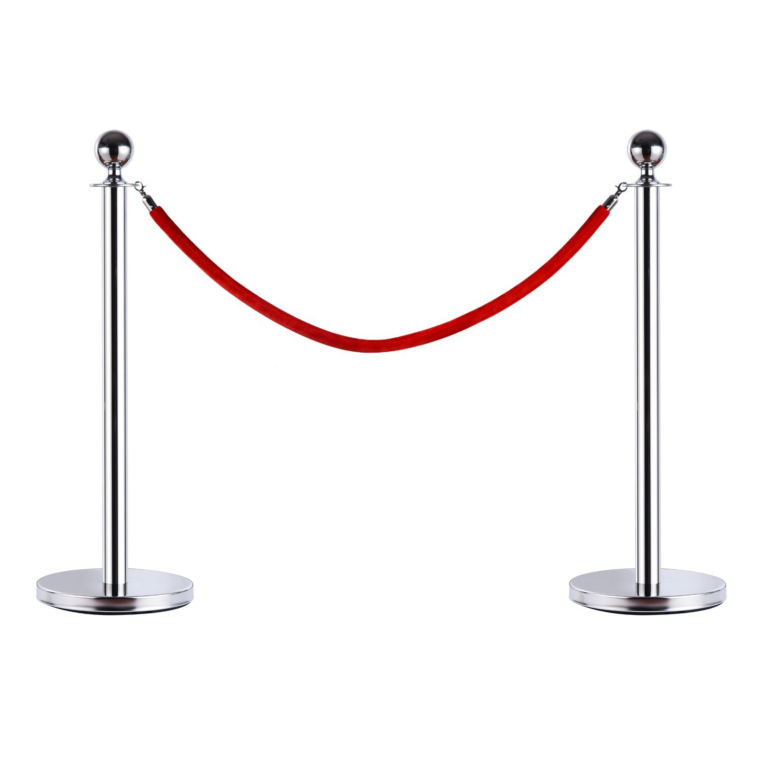 HOMCOM Transenne Eliminates Code Separacode Bollard Bounding With Strings Red Steel Ф 32x95 CM