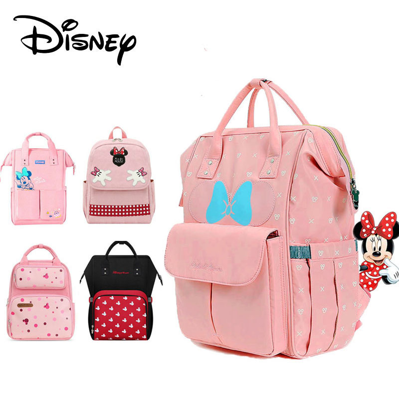 Disney Minnie Pink Series Maternity Diaper Bag USB Heating Baby Care Bag Mummy Large Capacity Nappy Backpack For Moms Waterproof