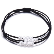 Black Rubber Shrink Head Band Rope Sweety Pearl Decorative Women Lady Hair Bows Ring Accessories for 3 in 1