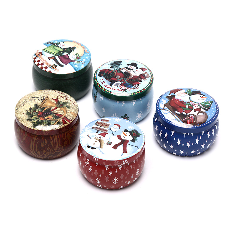 1PC Christmas Round Tin Sealed Jar Jewelry Biscuits Coin Candy Storage Box Container Case Organizer Random Styles