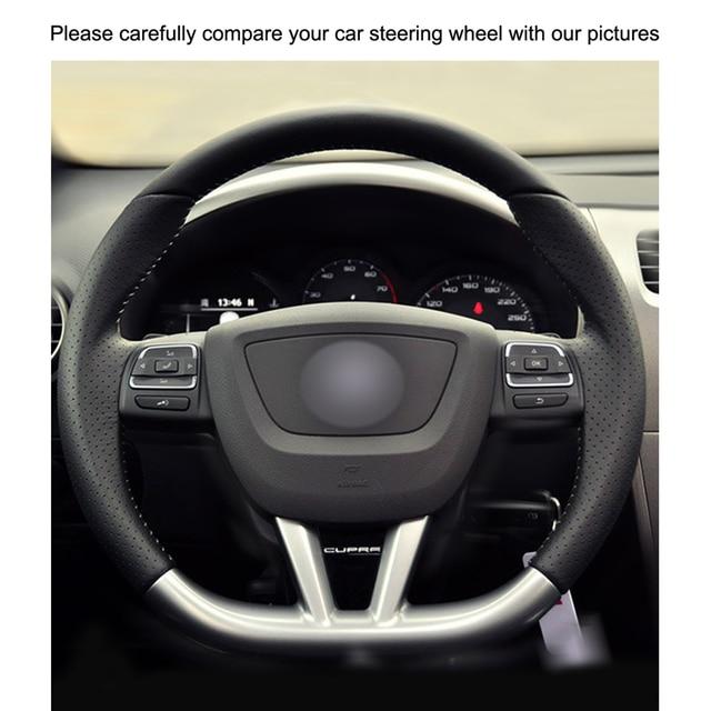 Couverture de volant de voiture en cuir PU | Cousu à la main, en cuir synthétique noir, pour siège Leon (Cupra) MK2 1P 2009-2012