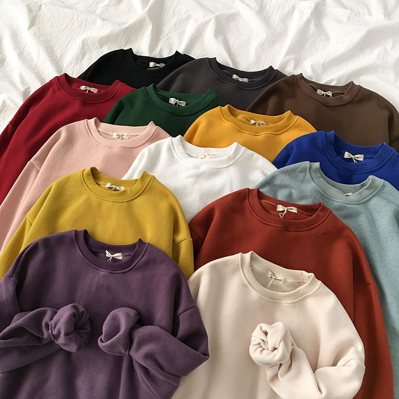 Winter Spring Harajuku Thickening Sweatshirt Women Casual Oversize BF Long Sleeve Loose Pullover Female Yellow Purple Korean Top