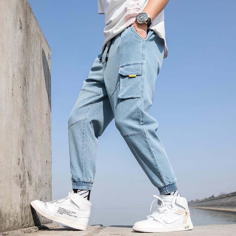 Japanese-style New Style 2019 Spring MEN'S Casual Pants Trousers Skinny Pants Trend Cowboy Medium Waist Loose-Fit Bib Overall Fa