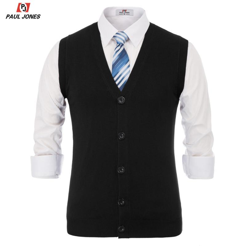 PAUL JONES Men Stylish V-Neck Knitted Sweater Vest Slim Fit Button Placket Knitting Basic Vests Solid Color Sleeveless Knitwear