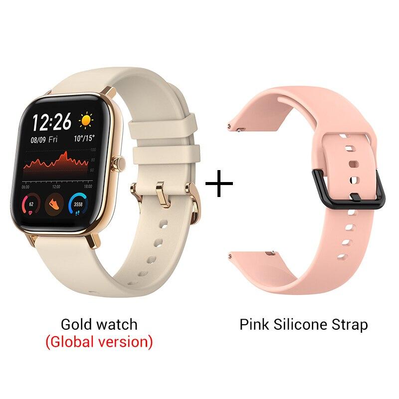 СМАРТ-ЧАСЫ XIAOMI HUAMI AMAZFIT GTS- Выглядит как часы Apple - Цвет: Gold n Pink strap