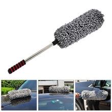 Telescopic Retractable Microfiber Car Wax Brush Multipurpose Car Duster Lint Free Pollen Removing Car Cleaning Brush Tool (Grey)