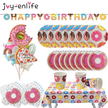 1set Donut Party Supplies Kids Birthday Party Decor Burger Icecream Candy Doughnut Balloon Donut Plate Cup Garland Wedding Favor