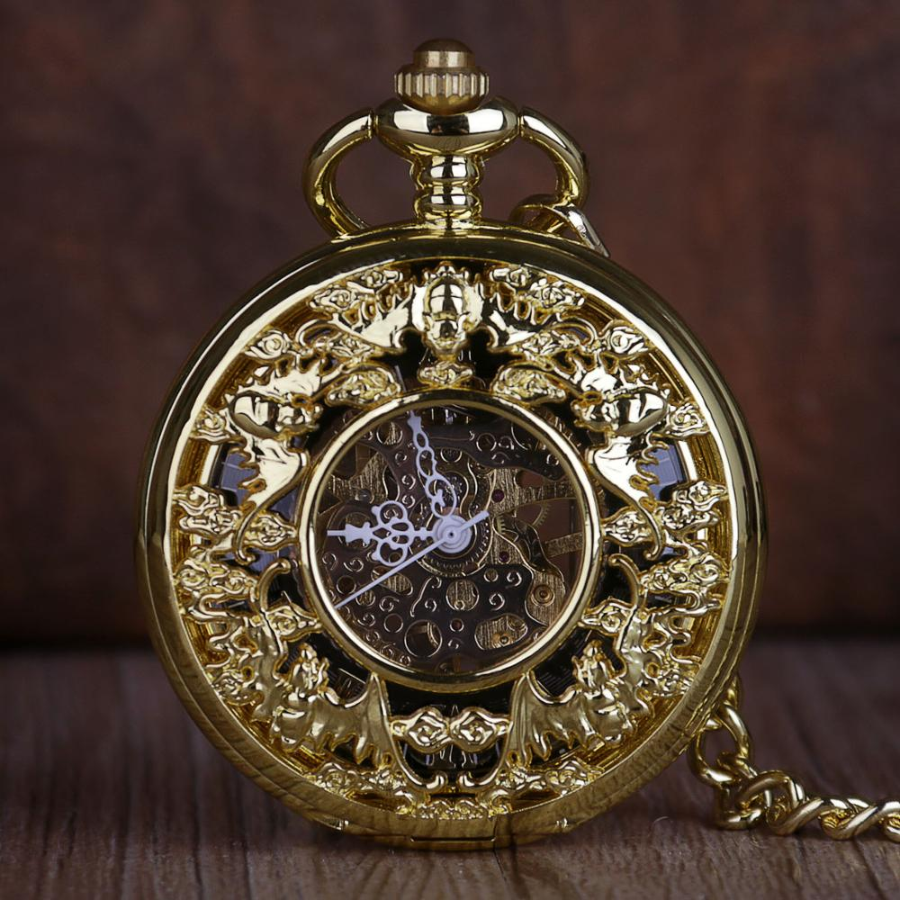 Vintage Gold Steampunk Mechanical Pocket Watch Hand Wind Carved Hollow Pocket Watch Fob Clock Necklace Chain For Men Women Gift