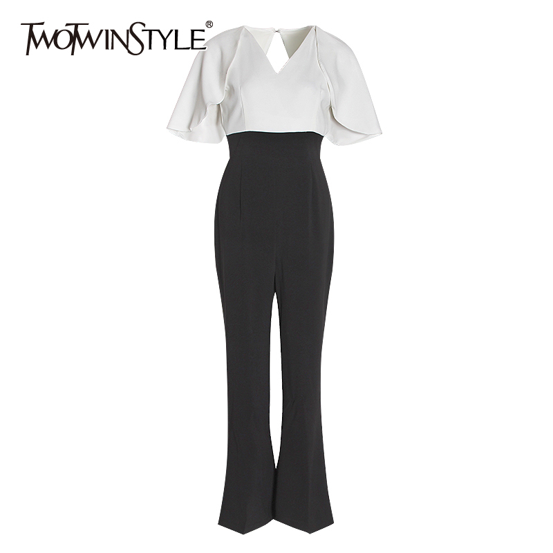TWOTWINSTYLE Elegant Patchwork Hit Color Jumpsuit Female V Neck Puff Sleeve High Waist Backless Tunic Jumpsuits Women 2020 Tide