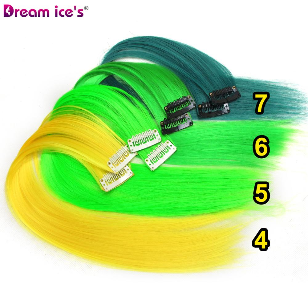 Colored synthetic hair extensions clips in one piece Ombre fake purple  long straight rainbow hair pieces dream ice's 2