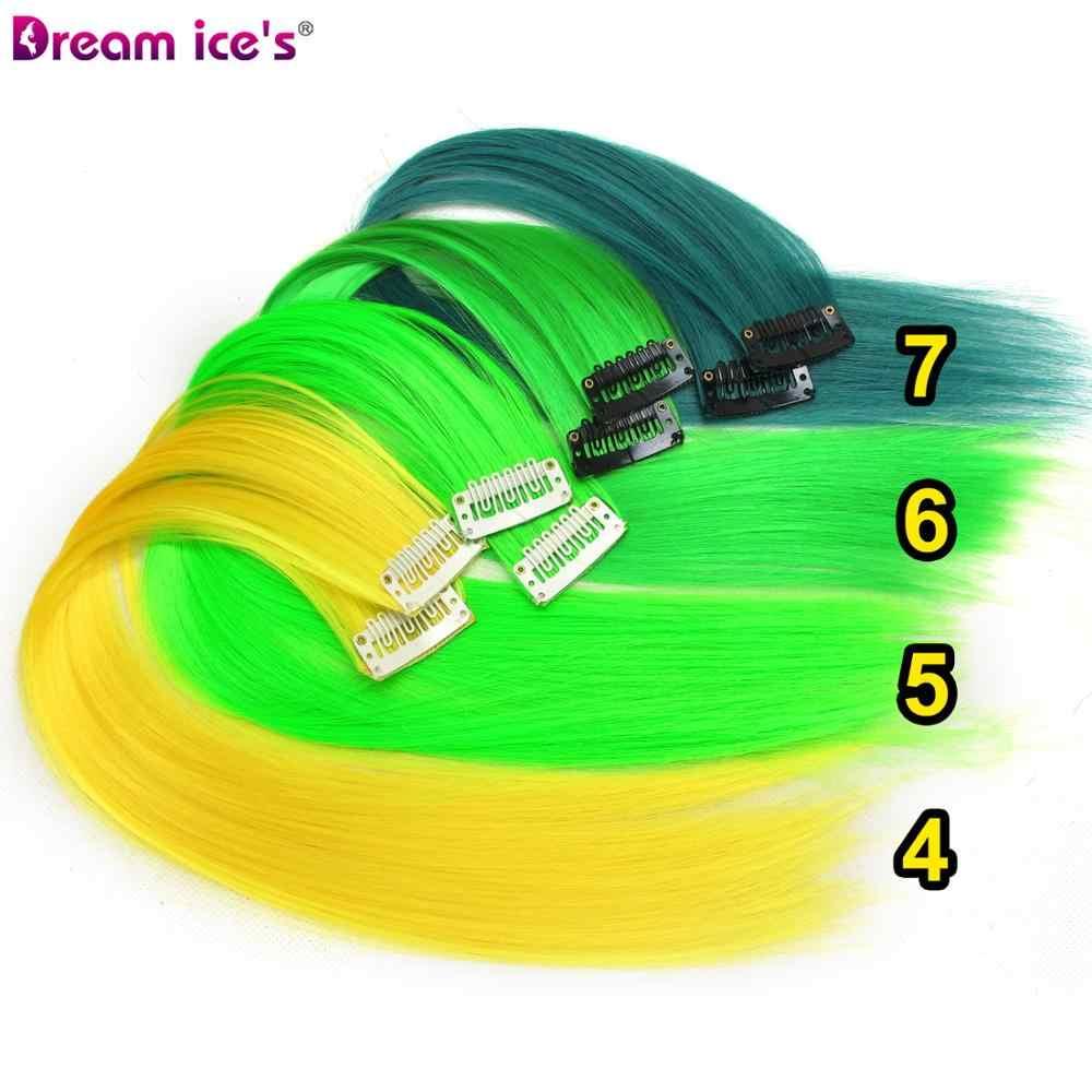 Gekleurde Synthetisch Haar Extensions Clips In Een Stuk Ombre Nep Paars Lange Rechte Rainbow Haarstukken Droom Ijs 'S