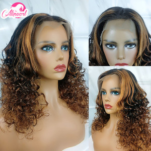 Colored Curly Lace Front Human Hair Wigs PrePlucked 180% 250% Density Brazilian Virgin Hair Wigs For Black Women AliPear Hair(China)