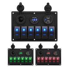LEEPEE Panel de interruptor basculante con pantalla Digital de voltaje, 6 entradas, fusible 4.2A, ranura USB Dual, impermeable