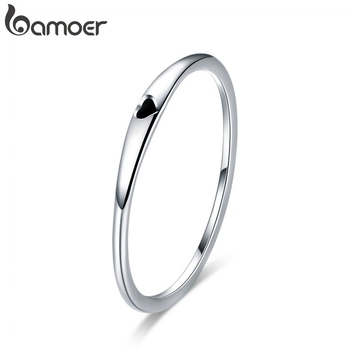 BAMOER 925 Sterling Silver Round Circle Pure Finger Ring Simple Heart Engrave Rings for Women Wedding Engagement Jewelry SCR468 цена 2017