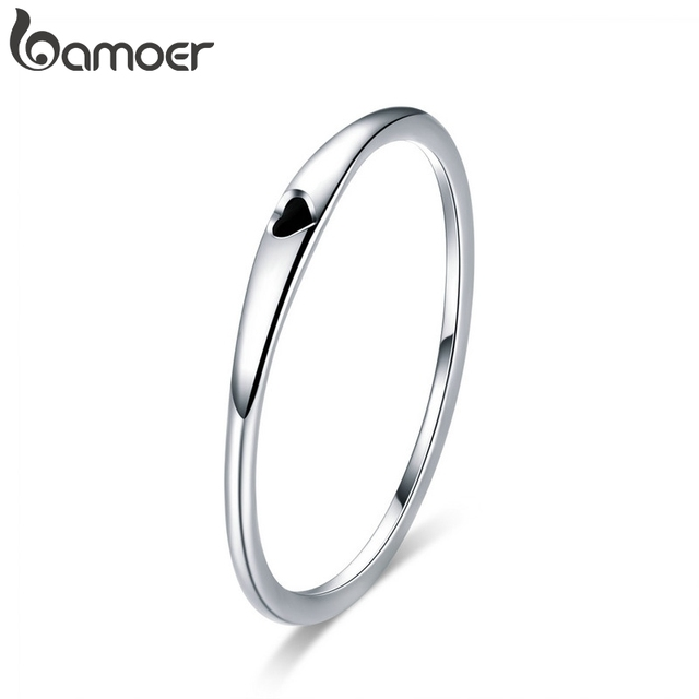 BAMOER 925 Sterling Silver Round Circle Pure Finger Ring Simple Heart Engrave Rings for Women Wedding Engagement Jewelry SCR468