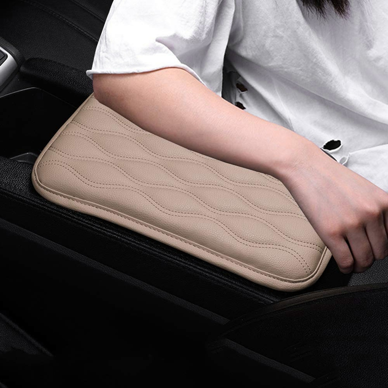 Grey Demiawaking Car Armrest Cushion Cover Universal PU Leather Car Auto Vehicle Center Console Arm Rest Pad Seat Box Protective Case